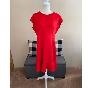 NWT Ann Taylor Loft Red Flounce Hem Dress Size 14